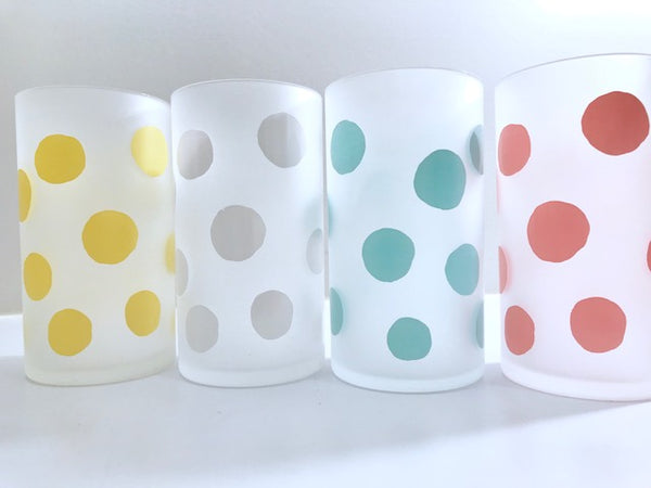 Federal Glass Mid-Century Frosted Polka Dot Glasses (Set of 4)