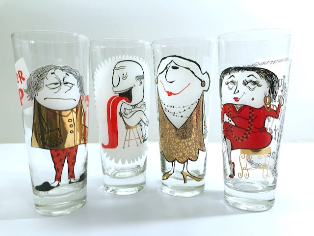 Mid-Century Osborne Kemper Thomas Humorous Tall Collins Glasses (Set of 4)