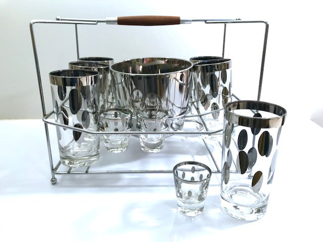 Dorothy Thorpe Mid-Century Polka Dot 14-Piece Bar Set (Set of 12 Glasses, Ice Container and Atomic Carrier)