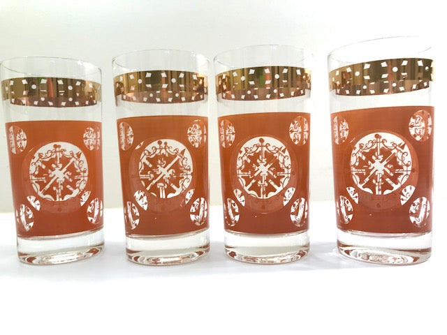 Vintage Terra Cotta and Gold Atomic Highball Glasses (Set of 4)