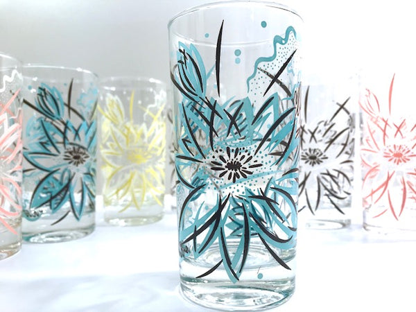 Vintage Abstract Flower Highball Glasses (Set of 7)