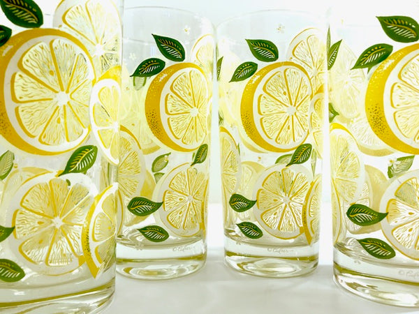 Culver Signed Mid-Century Lemon Highball Glasses (Set of 4)