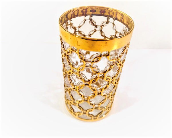 Imperial Glass Mid-Century Golden Chains Highball Single Glass