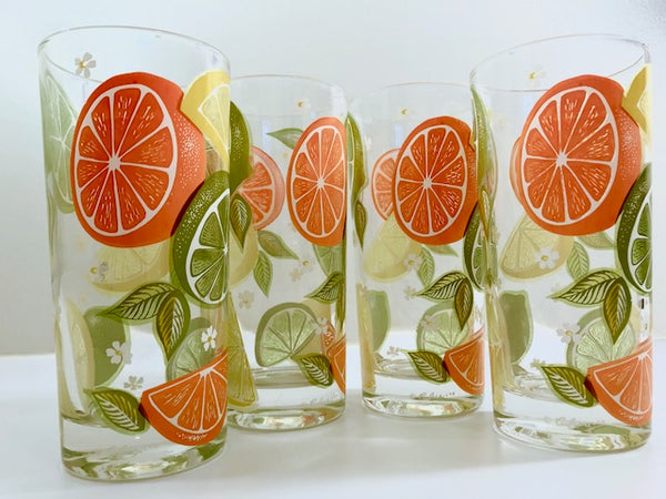 Culver Signed Mid-Century Citrus Highball Glasses (Set of 4)