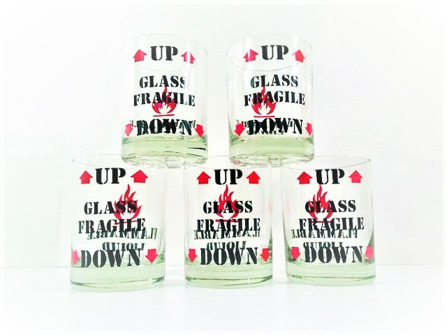 Vintage Flammable Liquid Double Old Fashion Glasses (Set of 5)