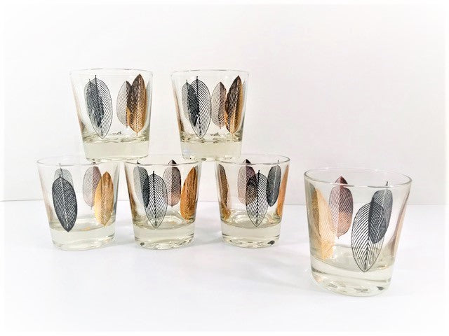 Meth Signed Mid-Century Modern Leaf Glasses (Set of 6)