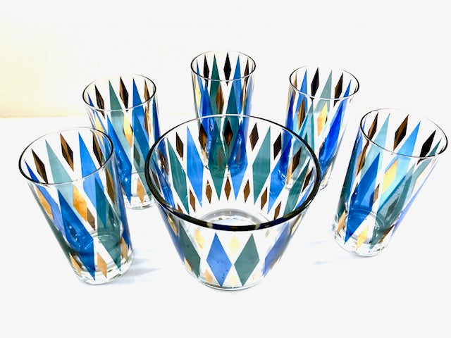 Mid-Century Blue, Green, Gold Harlequin 6-Piece Cocktail Set