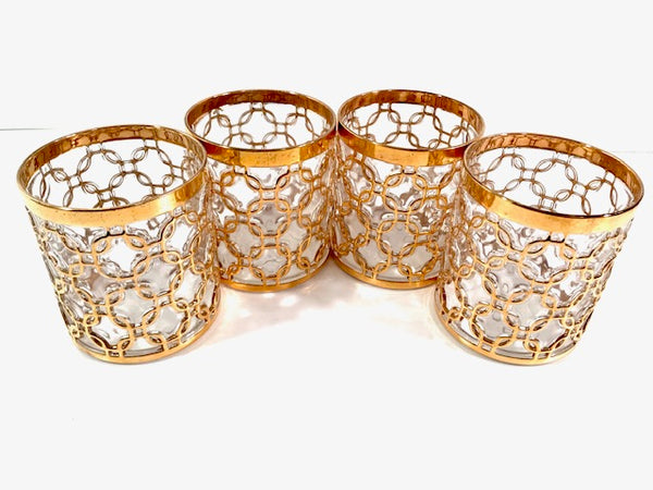 Imperial Glass Mid-Century Golden Chains Double Old Fashion Glasses (Set of 4)