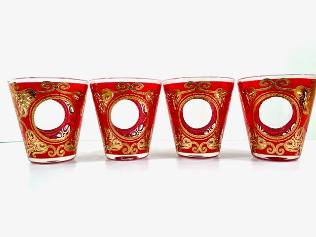 Culver Signed Gold and Red Regal Scroll Double Old Fashion Glasses (Set of 4)