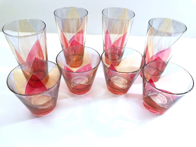 Mid-Century Pink, Gold and Blue 8-Piece Cocktail Set