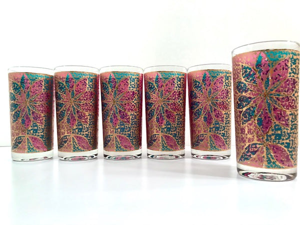 Georges Briard Signed Mid-Century Stained Glass Poinsettia Highball Glasses (Set of 6)