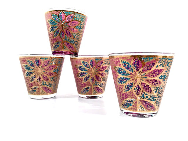Georges Briard Signed Mid-Century Stained Glass Poinsettia Glasses (Set of 4)