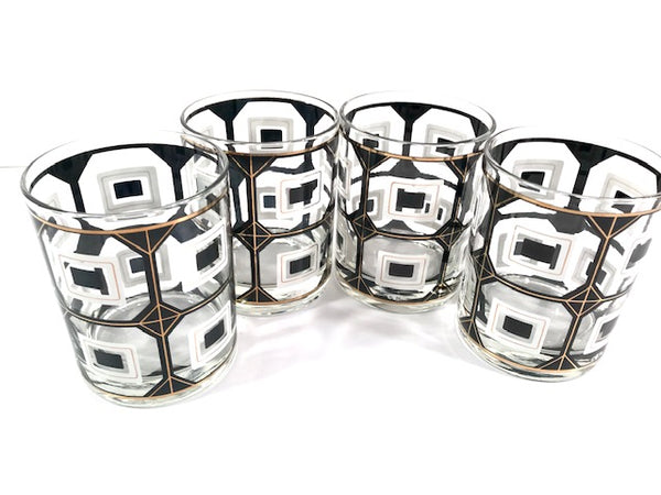 Cera Signed Black and White Geometric Double Old Fashion Glasses (Set of 4)