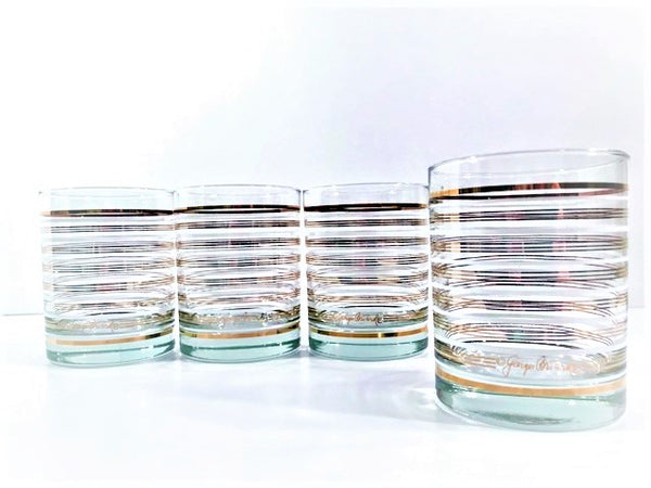 Georges Briard Signed Gold and White Stripe Double Old Fashion Glasses (Set of 4)