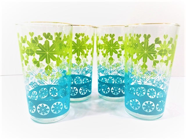 Anchor Hocking Vintage Chartreuse and Aqua Snowflake Glasses (Set of 4)