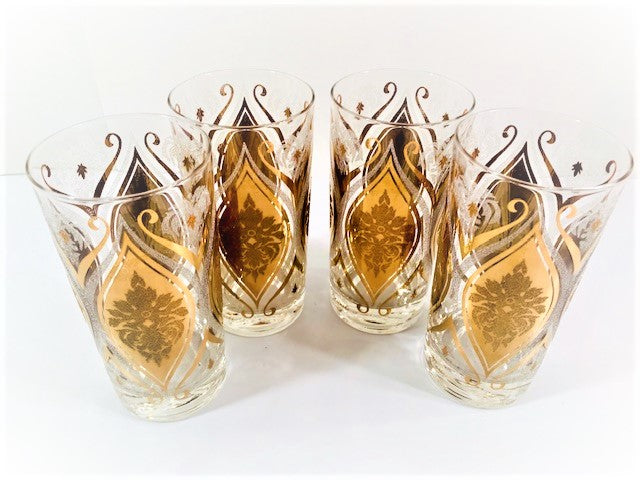 Pasinski Signed Mid-Century 22-Karat Gold and Frosted Embellished Glasses (Set of 4)