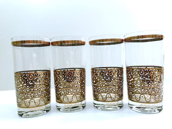 Georges Briard Signed Mid-Century Crown and Scroll Highball Glasses (Set of 4)
