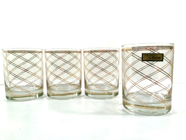 Culver Signed 22 Karat Gold Swirl Double Old Fashion Glasses (Set of 4)