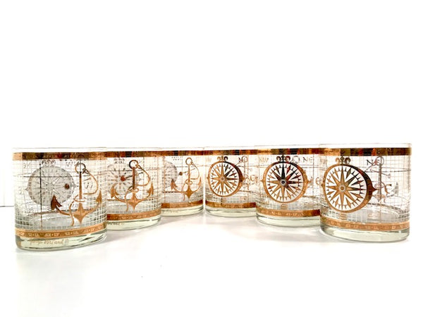 Georges Briard Signed Mid-Century Golden Nautical Glasses (Set of 6)