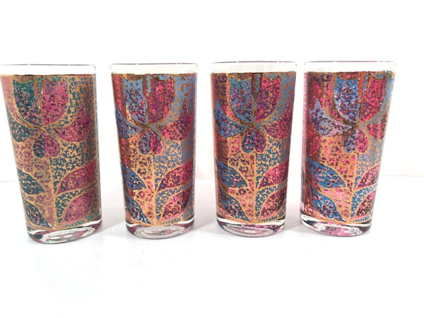 Georges Briard Signed Mid-Century Stained Glass Poinsettia Highball Glasses (Set of 4)