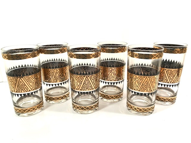 Culver Signed Mid-Century 22-Karat Gold Samoa Glasses (Set of 6)