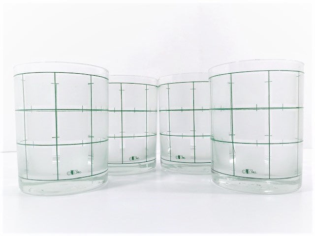 Cera Signed Frosted and Green Square Double Old Fashion Glasses (Set of 4)