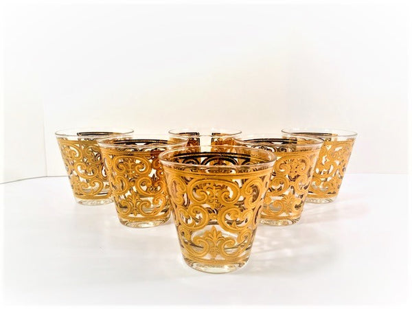 Georges Briard Signed 22-Karat Gold Spanish Scroll Glasses (Set of 6)