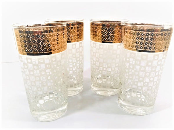 Georges Briard Signed Mid-Century White Checker and 22-Karat Gold Glasses (Set of 4)