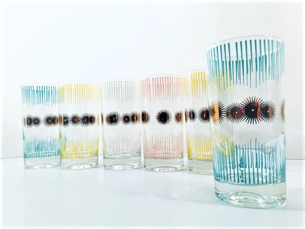 Fred Press Signed Mid-Century Atomic Sunburst Highball Glasses (Set of 6)