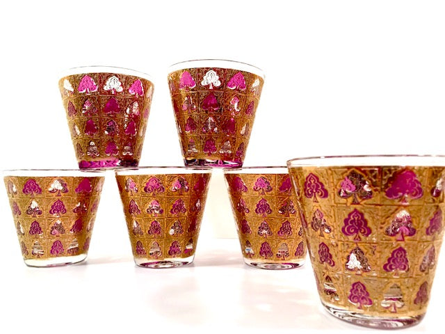 Culver - Signed Mid-Century 22 Karat Gold and Amethyst Glasses (Set of 6)
