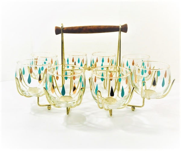 Federal Glass Mid-Century Turquoise and Gold Roly Poly 9 Piece Bar Set