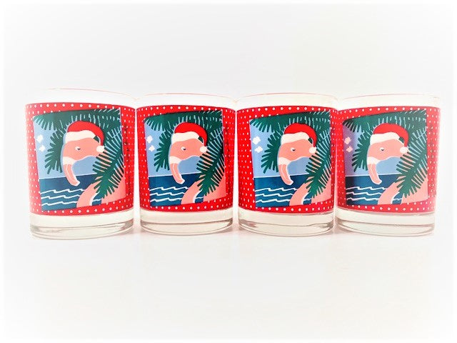 Georges Briard Signed Santa Flamingo Double Old Fashion Glasses (Set of 4)