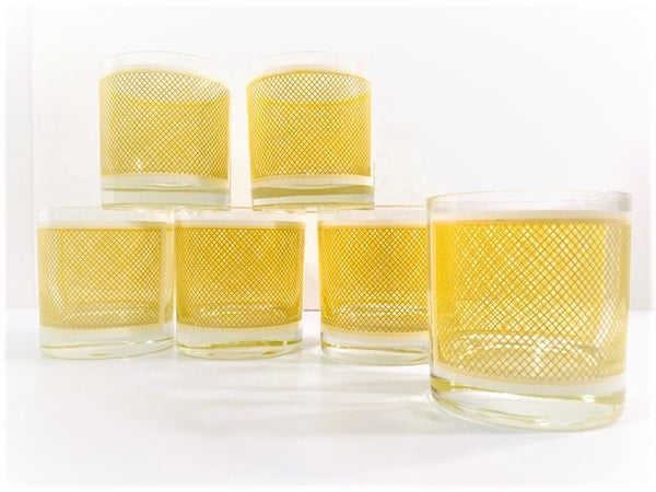 Georges Briard Signed Mid-Century Yellow and White Netting Glasses (Set of 6)
