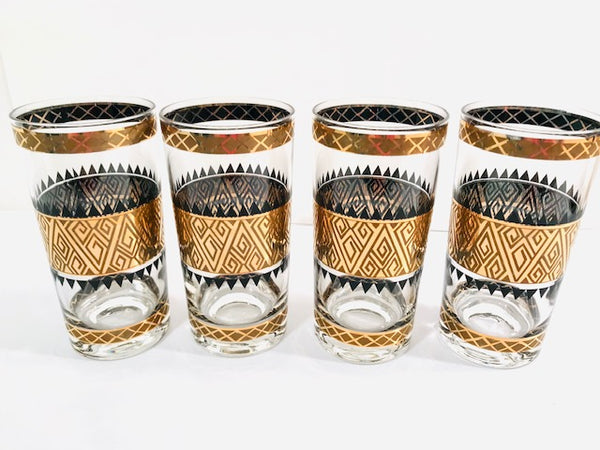 Culver Signed Mid-Century 22-Karat Gold Samoa Glasses (Set of 4)