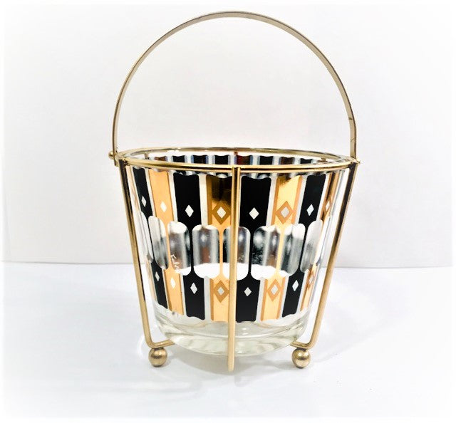 Culver Signed Mid-Century Gold-Black and White Ice Bucket with Carrier