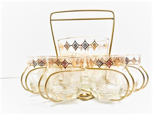 Jeannette Glass Atomic 10-Piece Mid-Century Bar Set