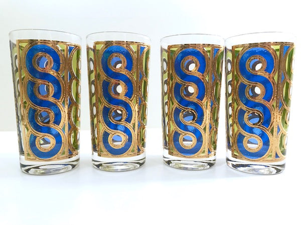 Georges Briard Signed Mid-Century Blue, Green and Gold Swirl Glasses (Set of 4)