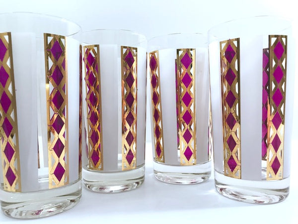 Culver Mid-Century Amethyst Gold and Frost Highball Glasses (Set of 4)