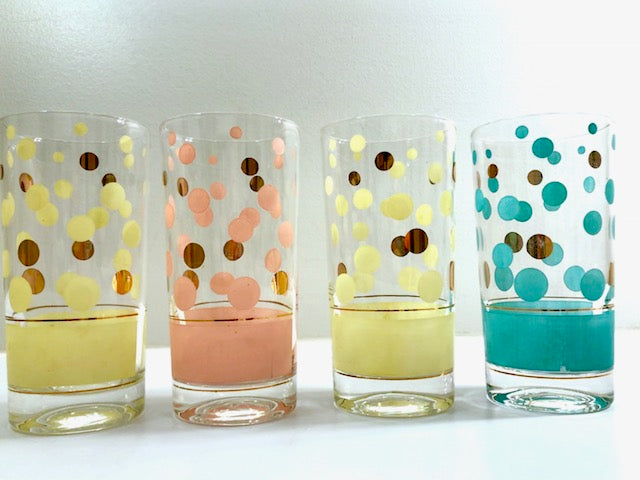Fred Press Signed Mid-Century Yellow, Pink, Turquoise and 22-Karat Gold Bubble Glasses (Set of 4)