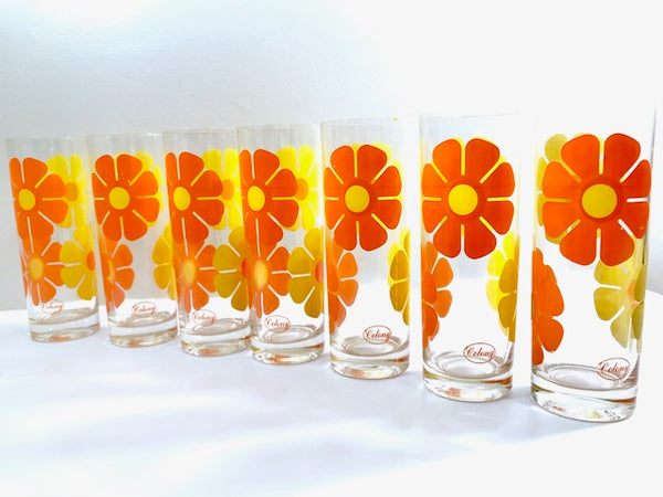Colony Signed Retro Yellow and Orange Daisy Flower Power Tall Collins Glasses (Set of 7)