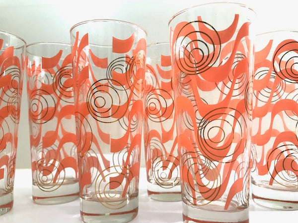 Gay Fad Mid-Century Coral and Gold Tall Collins Glasses (Set of 6)