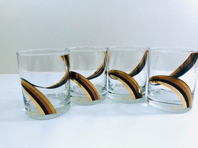 Culver Signed Black Gold and Copper Swirl Double Old Fashion Glasses (Set of 4)