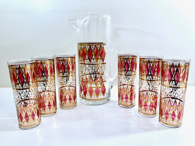 West Virginia Mid-Century Pink Diamonds with Gold Scroll 7-Piece Cocktail Bar Set