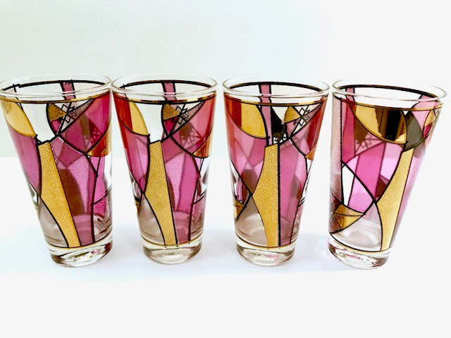 Ned Harris Signed Mid-Century Pink and Purple Abstract Glasses (Set of 4)