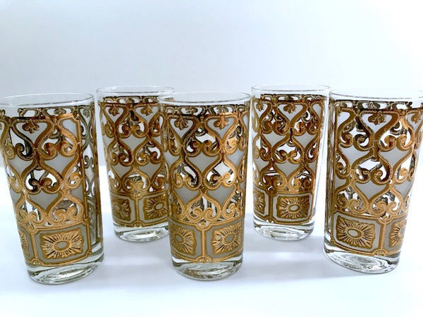 Georges Briard Signed Mid-Century Golden Filigree Glasses (Set of 5)