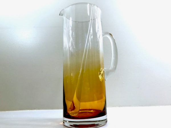 West Virginia Amber Fade Mid-Century Cocktail Pitcher and Stir