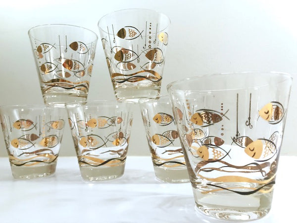Here Fishy Fishy Mid-Century Double Old Fashion Glasses (Set of 6)