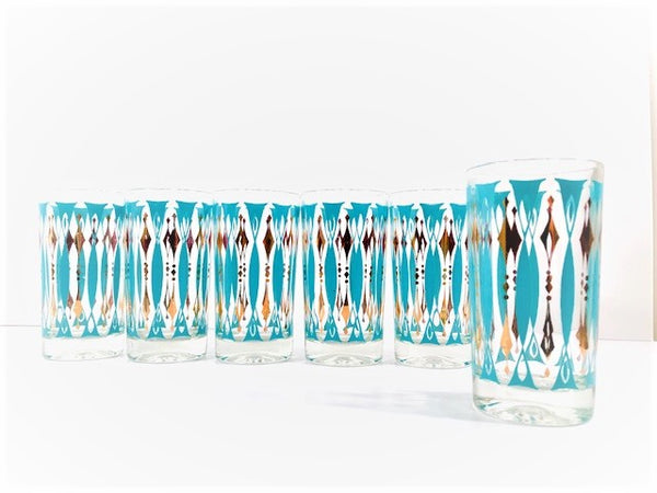 Mid-Century 22-Karat Gold and Turquoise Glasses (Set of 6)