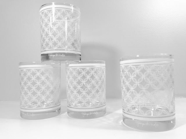 Georges Briard Signed Mid-Century White Lattice Double Old Fashion Glasses (Set of 4)