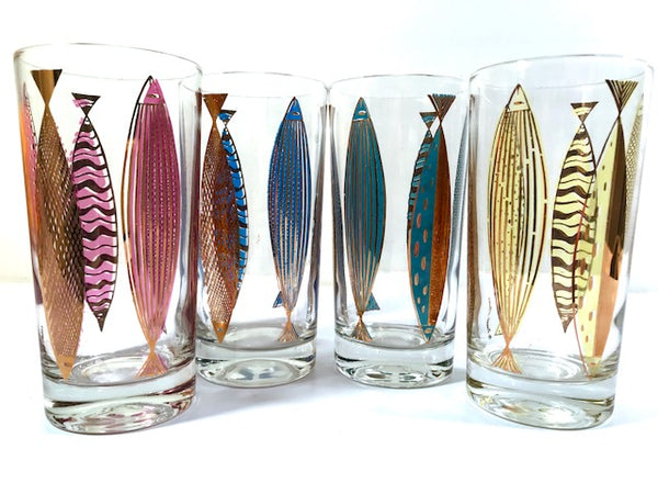 Fred Press Signed Mid-Century Fish Glasses (Set of 4)